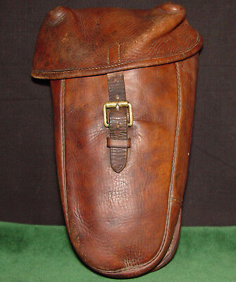 "Original WWI US or French Cavalry Leather Pommel/Cantle Bag - ""Douenat Paris"""