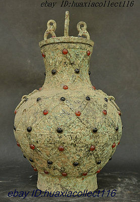 Old Chinese Palace Rarely Stannum Bronze Inlay Agate Turquoise Wealth Bottle Pot