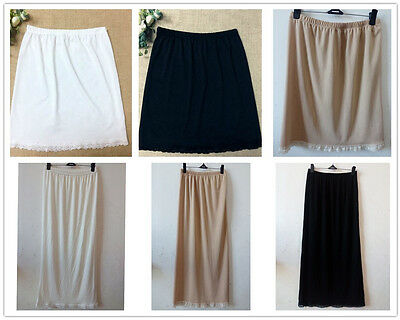 "23-39"" Women Waist Intimate Ladies Black White Underskirt Petticoat Half Slips"