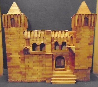 PRISON ART Popsicle Stick Castle-Large & Very Detailed Absolutely FANTASTIC!