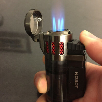 High-Capacity Butane Viewable Triple Jet Torch Lighter for Pipe Cigar Cigarette