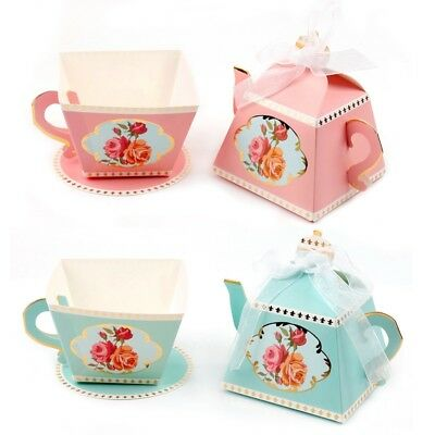 10PCS Cup Teapot Candy Box Ribbon Birthday Wedding Party Gift Baby Shower Favor