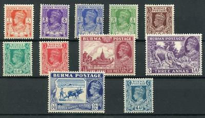 Burma 1938-40 short set to 4a SG18b/28 MNH cat £64