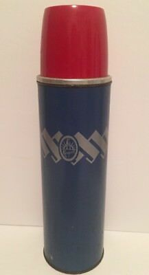 "Vintage KEAPSIT 14"" Mid Century Red Blue Thermos Vacuum Bottle #2433"