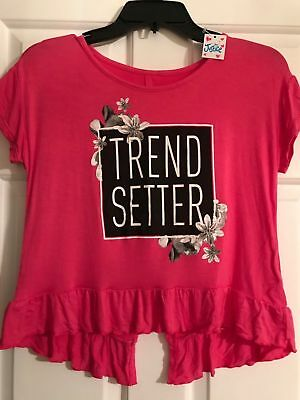 JUSTICE Girls Pink Ruffle Trend Setter Short Sleeve Shirt Top Blouse Size 14 NWT