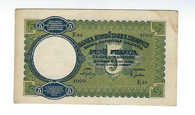 Albania  World War Ii Italian Occupation  5 Franga   Vf