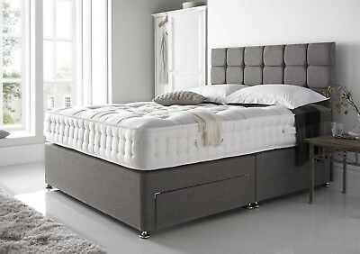 New Chenille Base Under Bed Storage Drawer Headboard Cream Charcoal Double King