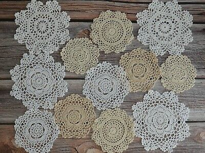 12 Crochet Doilies Lot French Country Wedding Table Runners Snowflake Coasters