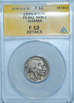1936 S/S ANACS F12 Details FS-501 Repunched Mint Mark RPM Buffalo Nickel
