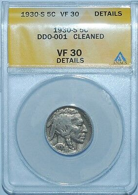 1930 S ANACS VF30 Details FS-101 DDO Doubled Double Die Obverse Buffalo Nickel