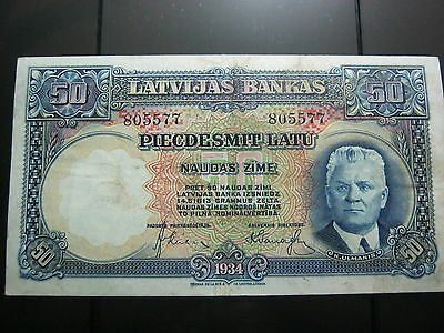 Latvia 50 Latu Banknote 1934 ISSUE in the VF+ condition.Rare.