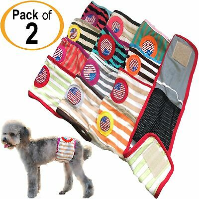 PACK of 2pcs Dog Diapers RANDOM Colors Male BELLY BAND Wrap For Small Pet XXS- L