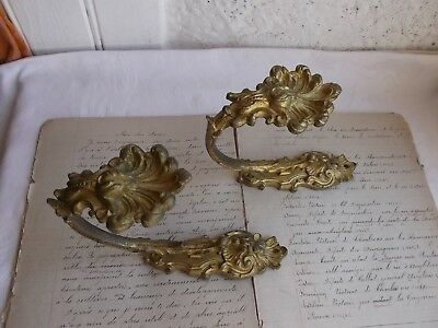 French antique a pair of curtain tiebacks ornately bronze  authentic style