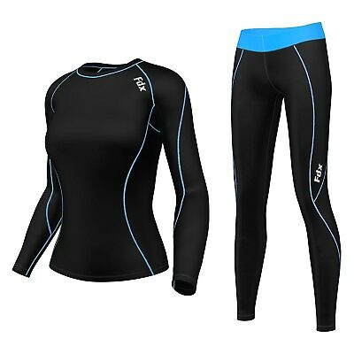(Black/Sky Blue, Large) - FDX Women's Compression Armour Base layer Top Skin