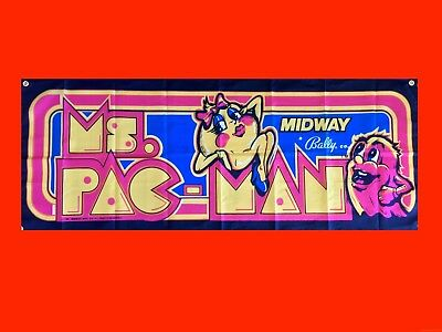 LARGE Ms. PacMan Arcade Video Game Banner Flag Poster