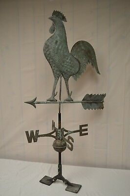 "LARGE Antique Copper Rooster Weathervane Functional 50"" H x 26"" W"