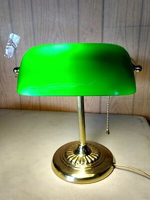 Vintage Brass Bankers Piano Desk Lamp W Emerald Green Glass