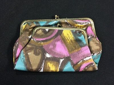 Vintage Mid Century 60s Coin Purse Make Up Bag Clutch Kiss Clasp Metal Frame