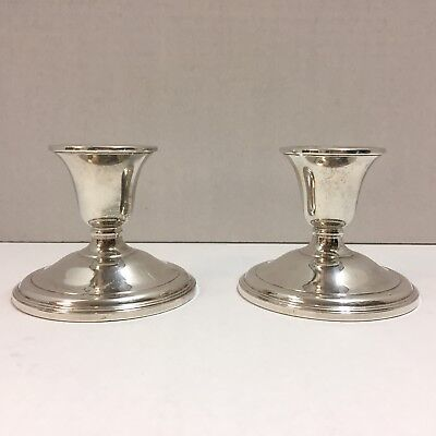 "Pair of 3"" International Silver Weighted Sterling Candlesticks Candle Holders"
