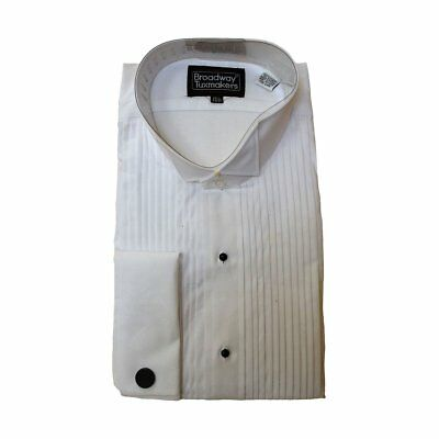 "Men's 100% Cotton Tuxedo Shirt, Wing Collar & 1/4"" Pleats"
