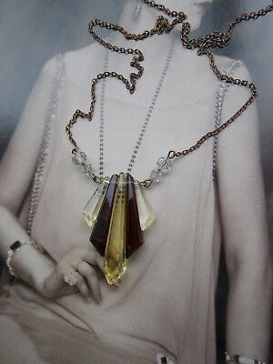 1920s art deco glass crystal geometric flapper sunburst pendant necklace antique