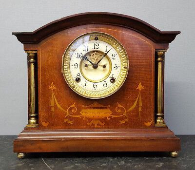 Vintage Wooden 8 Day Bracket Clock with Strike and Visible Escapement