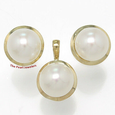 14k Solid Yellow Gold Genuine 9-9.5mm White Cultured Pearl Earring & Pendant TPJ