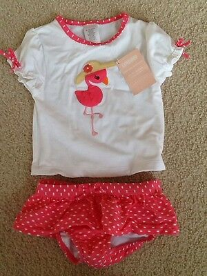 New Gymboree Girls Pink Flamingo Swimsuit Bathing Suit 2 pc UPF 50+ 6-12 months