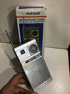 VINTAGE HARVARD POCKET RADIO  AM(MW)-FM BAND FROM THE 1960S-1970s+BOX