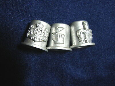 Lot od 3 Different Very Detailed Pewter Raised Design Thimbles