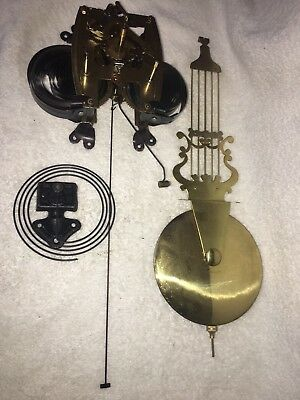 Antique Korean Clock Movement with Extra Long Leader. Comes w/ Gong & Pendulum