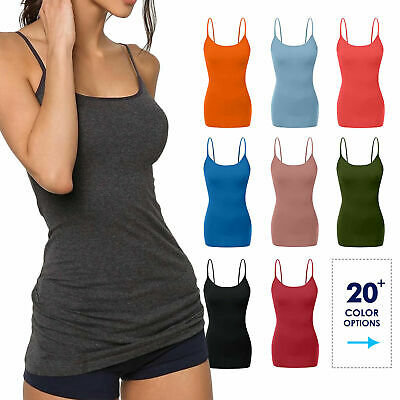 Women's Long Cami Tank Tops Cotton Blend Basic Camisole Stretchy Tops W/ Straps