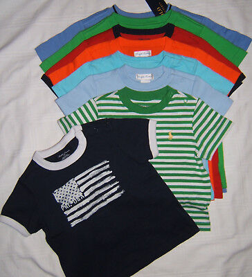 Polo Ralph Lauren Pony T Shirt Boy 9 12  24 Month 2T 3T Baby Toddler NWT US FLAG