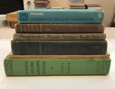 Antique Books LOT of 7 Education Music French Language Lettering Reading 1920s+