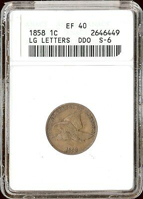 1858 1C Large Letters Flying Eagle Cent ANACS EF 40 DDO  S-6