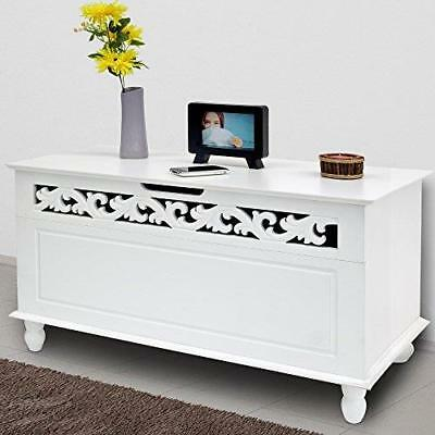 Wooden Ottoman Toy Box Storage Seat Stool Trunk Cabinet Footstool Chest White UK