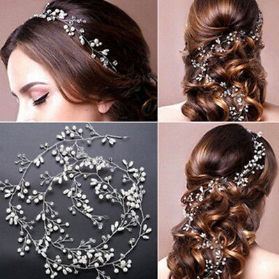 1* Women Pearl Wedding Hair Vine Crystal Bridal Accessories Diamante Headband D2