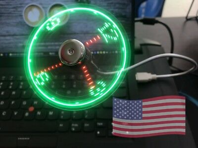 1PC Mini USB LED Clock Fan Powered Cooling Flashing Real Time Display Function