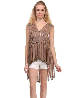 Womens Boho Sleeveless Tassel Fringed Vest Coat Jacket Waistcoat Top Cardigan