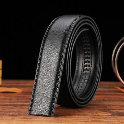 Black Automatic Luxury Men's Without Buckle Leather Waistband Belt Strap Waist