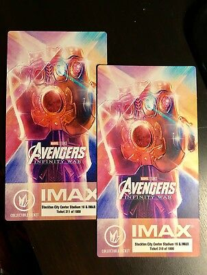 Marvel's Avengers Infinity War IMAX Regal Collectible Ticket