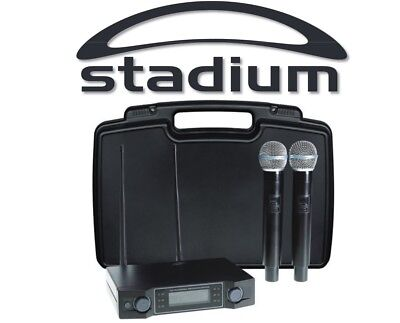 Stadium Twin UHF 60M Wireless MIC Microphone Pack Carry Case W2MICC