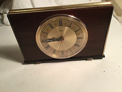 Vintage wood & Metal Retro METAMEC Clock Battery Operated