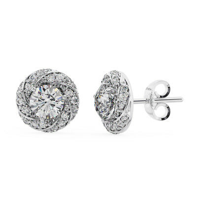 1.40CT Round Brilliant Cut Diamonds Halo Earring Available in Metal 9K Gold