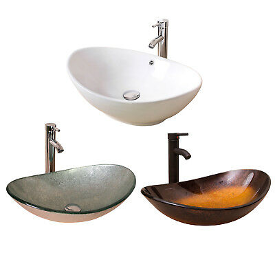 Oval Bathroom Sink Mixer Tap Set Faucet Above Counter Basin Hand