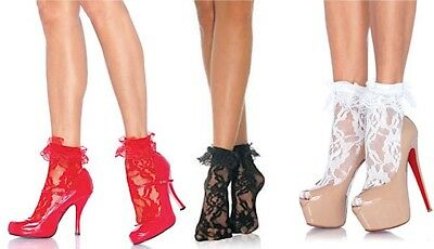 Leg Avenue Black/Red/White Lace Anklet With Ruffle Ankle Socks One Size