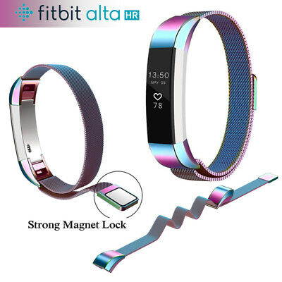 Fitbit Alta / Alta HR Magnetic Milanese Stainless Steel Watch Band Strap Rainbow
