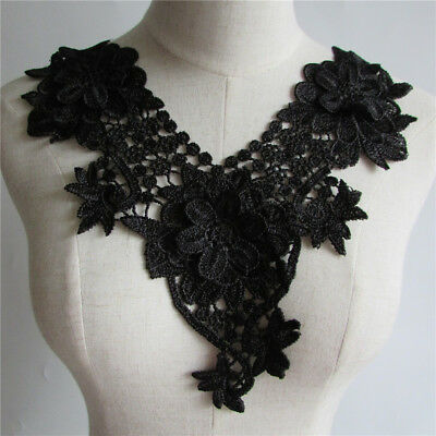 black Lace Embroidery Neckline Collar Flower Sewing Applique YL64