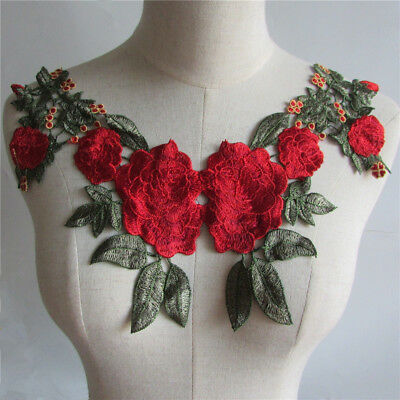 1pc 3D Flower Embroidery Applique Lace Neckline Collar Patches Sewing YL353