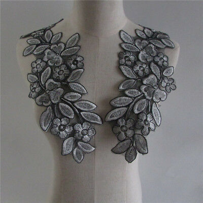 gray Organza Floral Collar Lace Pair Patch embroidery Applique YL226